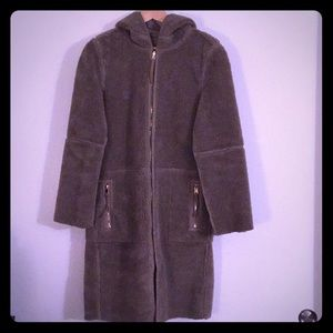 Zara Vegan Reversible Plush Shearling Hooded Coat
